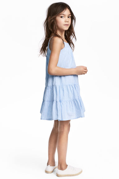 棉質洋裝 - Light blue/White striped - Kids | H&M 1