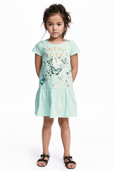 Jersey dress - Mint green/Butterflies - Kids | H&M