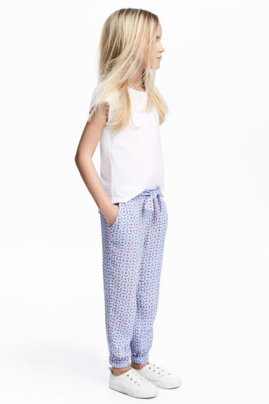 Pull-on trousers - Light blue/Patterned -  | H&M 1