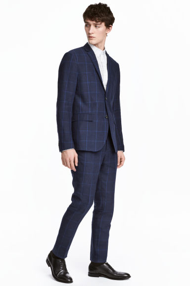 Linen suit trousers Slim fit - Dark blue/Checked - Men | H&M