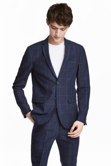 Checked linen jacket Slim fit - Dark blue - Men | H&M CA 1