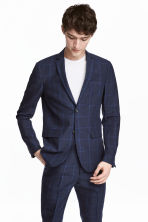 Checked linen jacket Slim fit - Dark blue - Men | H&M CN 1