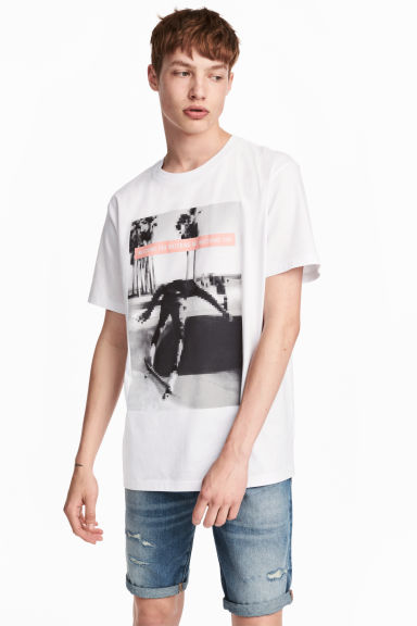 Printed T-shirt - White/Photo - Men | H&M 1