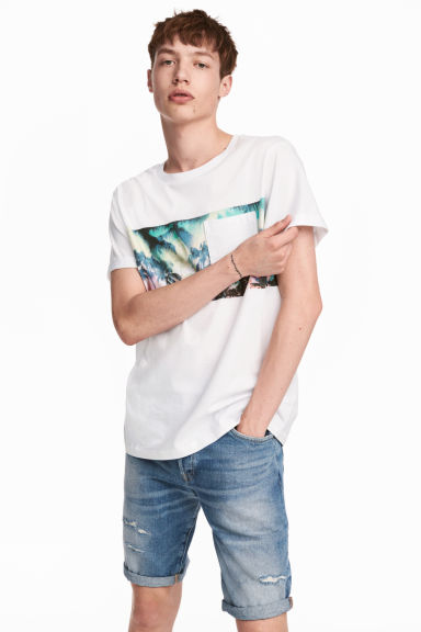 T-shirt with a chest pocket - White/Palms - Men | H&M 1