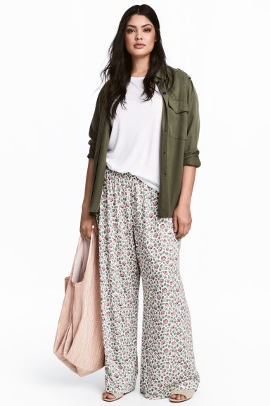 H&M+ Wide jersey trousers - White/Floral -  | H&M