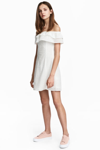 Off-the-shoulder dress - White - Ladies | H&M GB 1