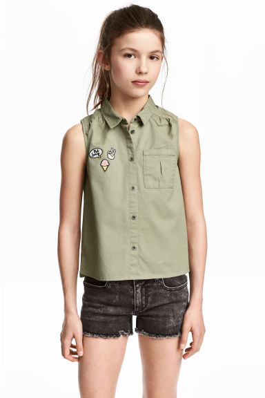 Sleeveless blouse - Light khaki green - Kids | H&M 1
