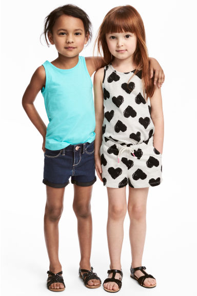 2-pack vest tops - Light grey/Heart - Kids | H&M CN