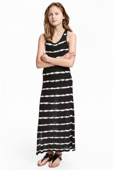 Printed maxi dress - Black/White -  | H&M CA 1