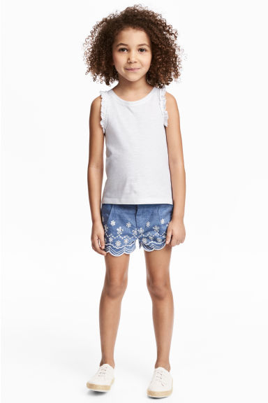 Embroidered cotton shorts - Blue/Chambray - Kids | H&M CN 1