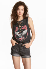 Vest top with lacing - Dark grey - Ladies | H&M 1