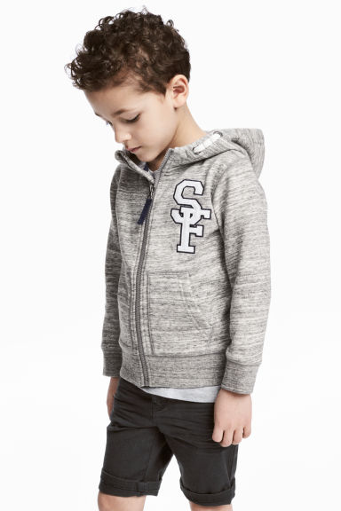 Hooded jacket - Grey marl - Kids | H&M 1