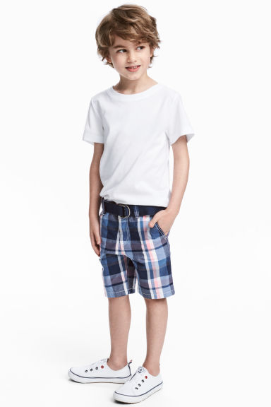 Shorts with a belt - Blue/Checked - Kids | H&M 1