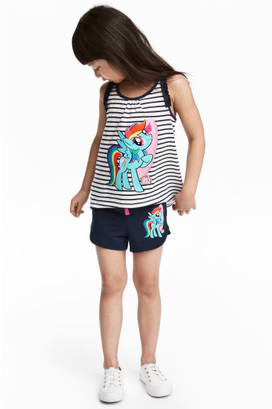 Jersey vest top and shorts - White/My Little Pony - Kids | H&M CN