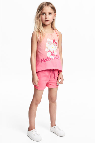 Jersey vest top and shorts - Pink/Hello Kitty - Kids | H&M