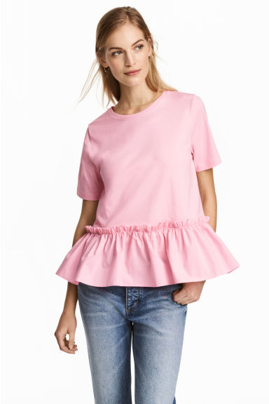 Flounced top - Pink - Ladies | H&M 1