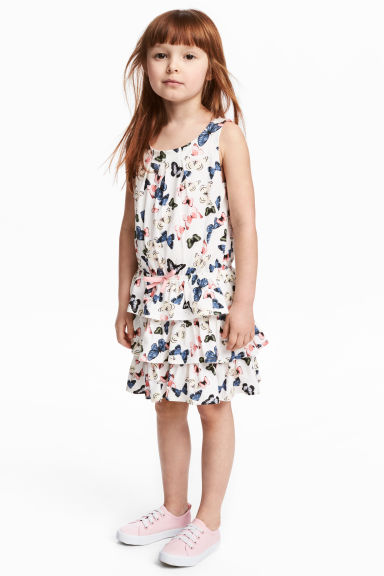 Jersey dress - White/Butterflies - Kids | H&M