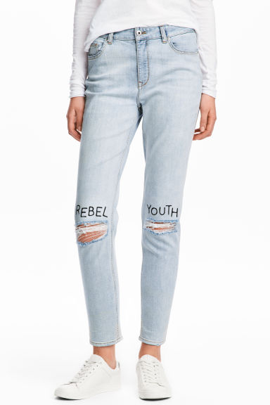 Boyfriend Low Ripped Jeans - Pale denim blue - Ladies | H&M CN