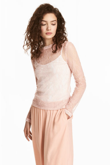 Fitted lace top - Powder pink - Ladies | H&M