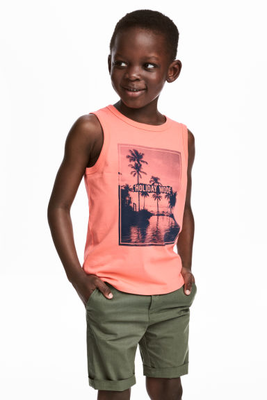 Vest top with a print motif - Coral/Photo - Kids | H&M 1