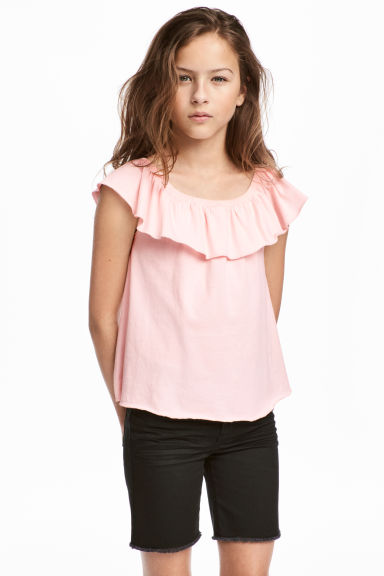 Flounced jersey top - Light pink -  | H&M CA 1