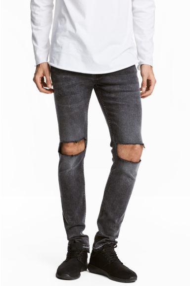 Skinny Low Trashed Jeans - Donkergrijs washed out - HEREN | H&M BE