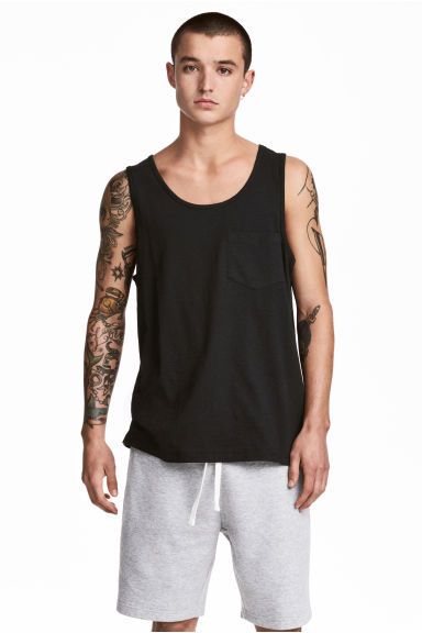 Vest top with a chest pocket - Black -  | H&M 1