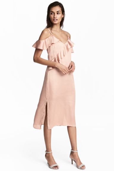 Robe en satin - Rose poudré -  | H&M BE