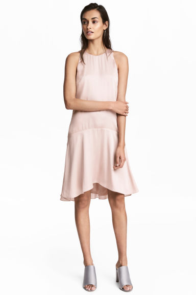 Sleeveless satin dress - Light pink - Ladies | H&M CN