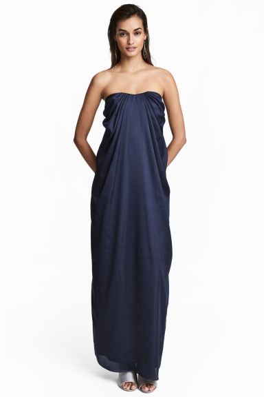 Satin dress - Dark blue - Ladies | H&M