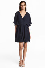 Short chiffon dress - Dark blue - Ladies | H&M 1