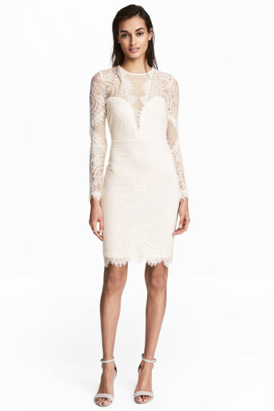 Lace dress - Natural white -  | H&M