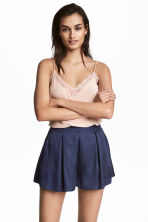 Satin shorts - Dark blue -  | H&M 1