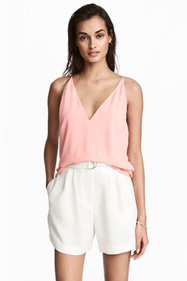 Top à encolure en V - Rose poudré -  | H&M FR 1