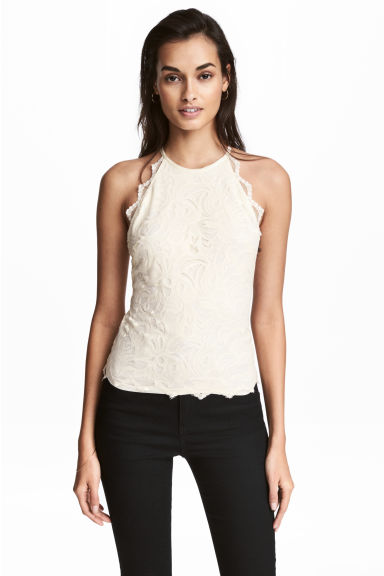 Lace halterneck top - Natural white -  | H&M