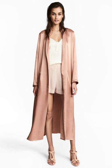 Long satin coat - Powder - Ladies | H&M CN 1