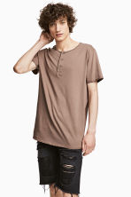 T-shirt with buttons - Light brown - Men | H&M CN 1