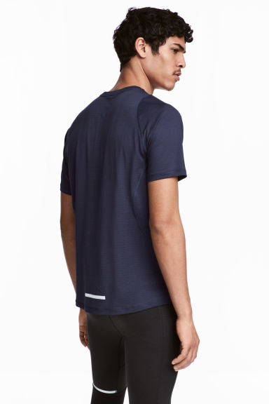 Short-sleeved mesh running top - Dark blue - Men | H&M CN 1