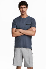 Short-sleeved sports top - Dark grey-blue - Men | H&M CN 1