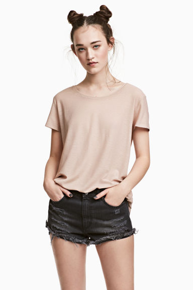 Jersey crêpe top - Light beige -  | H&M
