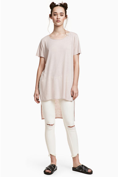 Long linen-blend T-shirt - Powder beige - Ladies | H&M CN 1