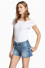 Ribbed jersey top - White -  | H&M 1