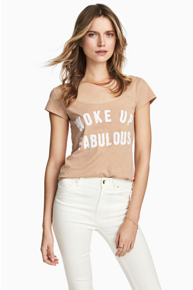 Printed top - Beige - Ladies | H&M CN 1