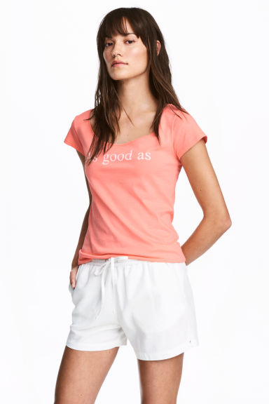 Printed top - Coral pink - Ladies | H&M CA 1