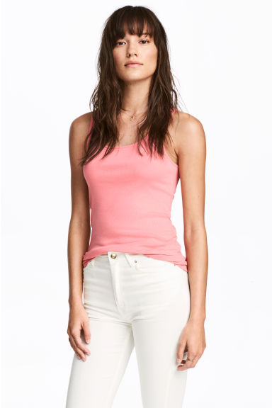 Ribbed vest top - Pink - Ladies | H&M