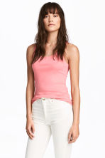 Ribbed vest top - Pink - Ladies | H&M 1