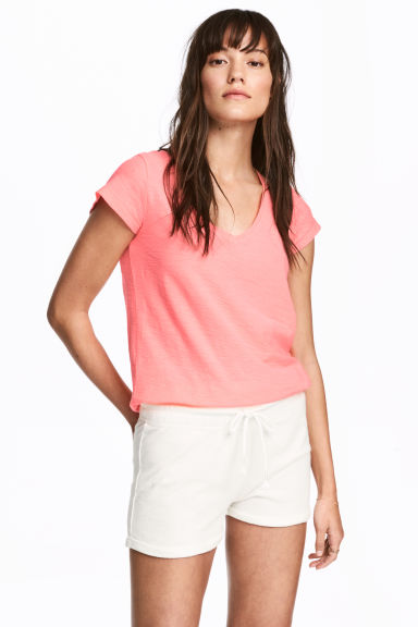 V-neck top - Neon coral - Ladies | H&M CN 1