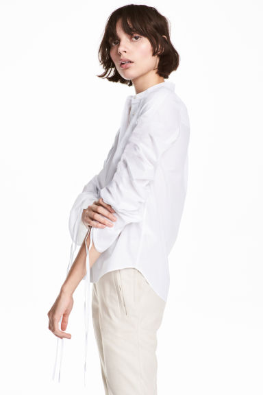 Cotton shirt with drawstrings - White -  | H&M