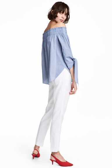 Linen-blend suit trousers - White - Ladies | H&M CA 1