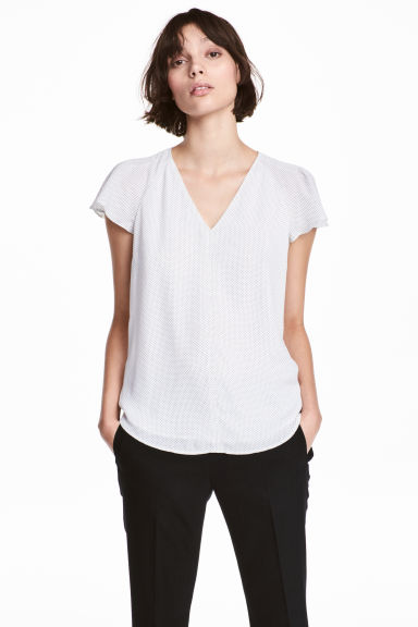 V領女衫 - White/Spotted - Ladies | H&M